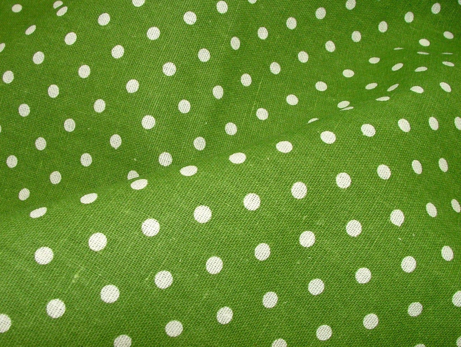 Green Polka Dot Cotton Linen Curtain Soft Furnishing Craft